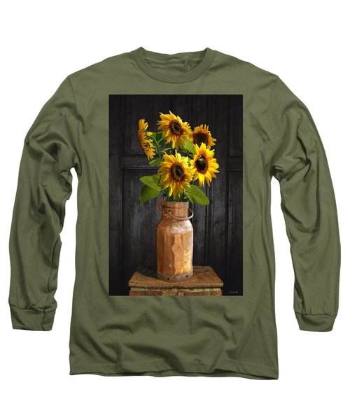 Sunflowers In Copper Milk Can Long Sleeve T-Shirt