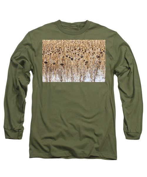 Sunflowers In Snow Long Sleeve T-Shirt