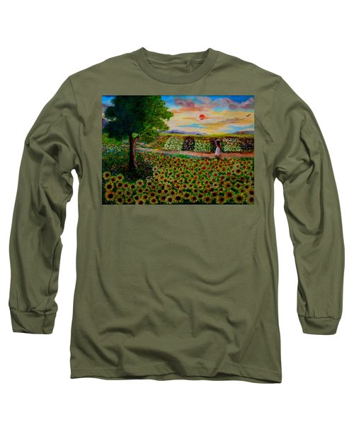 Sunflowers In Sunset Long Sleeve T-Shirt