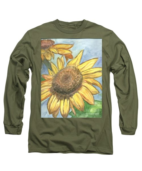 Long Sleeve T-Shirt featuring the painting Sunflowers by Jacqueline Athmann