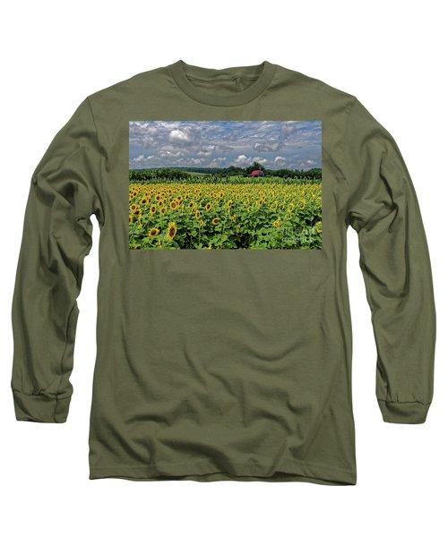 Sunflowers With Barn Long Sleeve T-Shirt