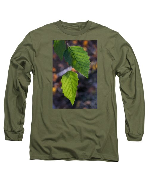 Sunlight Through Birch Leaf Branch Long Sleeve T-Shirt