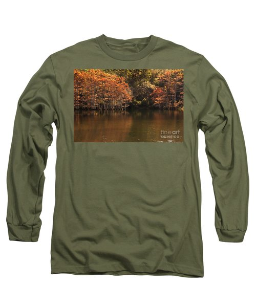 Long Sleeve T-Shirt featuring the photograph Sunlit Cypress Trees On Beaver's Bend by Tamyra Ayles
