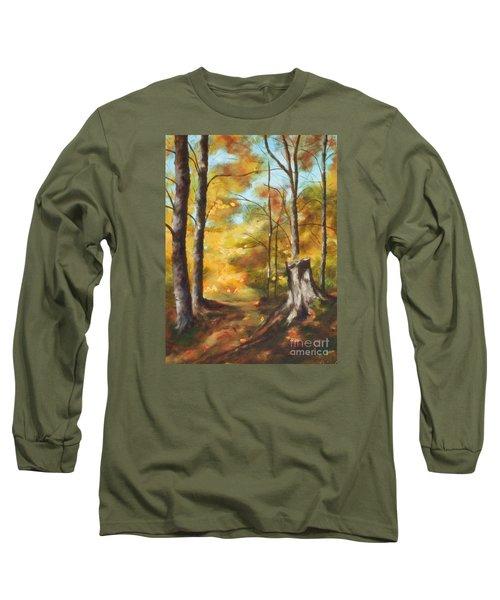 Sunlit Tree Trunk Long Sleeve T-Shirt