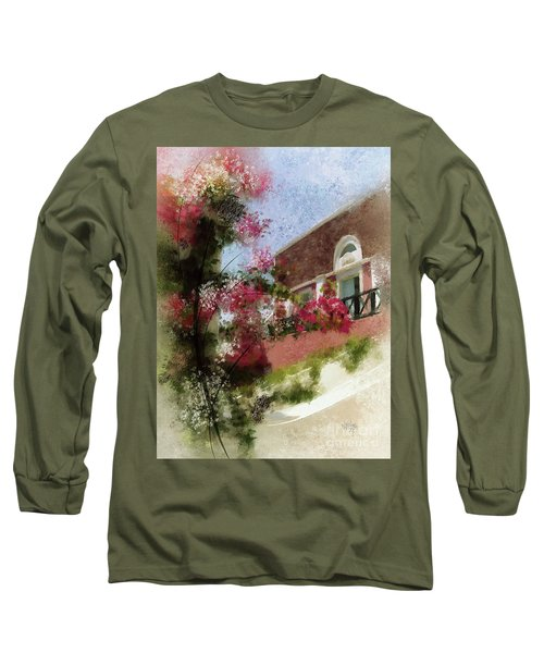 Long Sleeve T-Shirt featuring the photograph Sunny Santorini by Lois Bryan