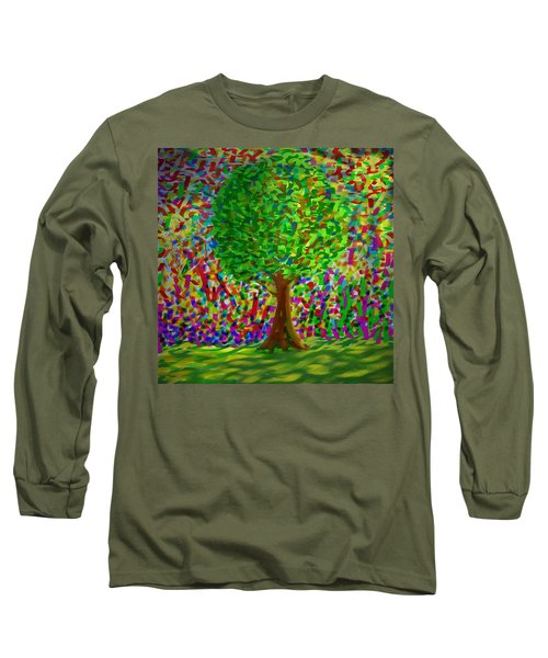 Long Sleeve T-Shirt featuring the painting Sunny Tree by Kevin Caudill