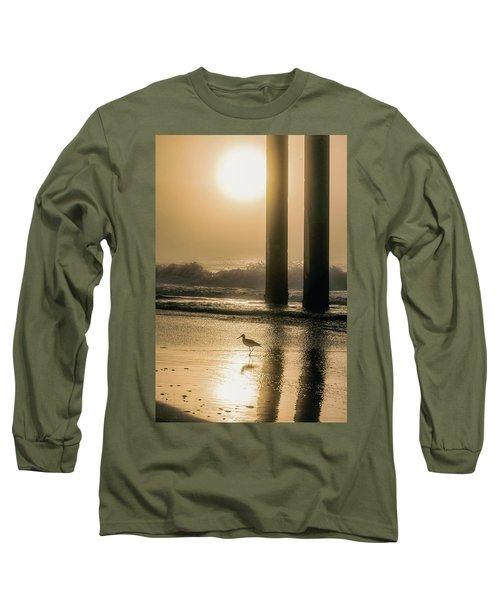 Long Sleeve T-Shirt featuring the photograph Sunrise Bird At Beach  by John McGraw