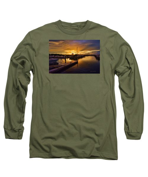 Long Sleeve T-Shirt featuring the photograph Sunrise Marina by Don Durfee