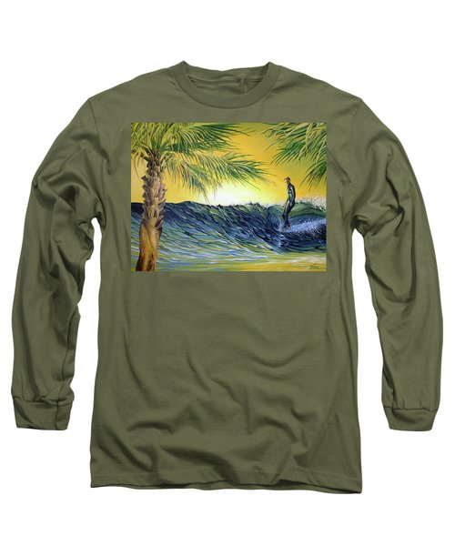Long Sleeve T-Shirt featuring the painting Sunrise Nose Ride by William Love