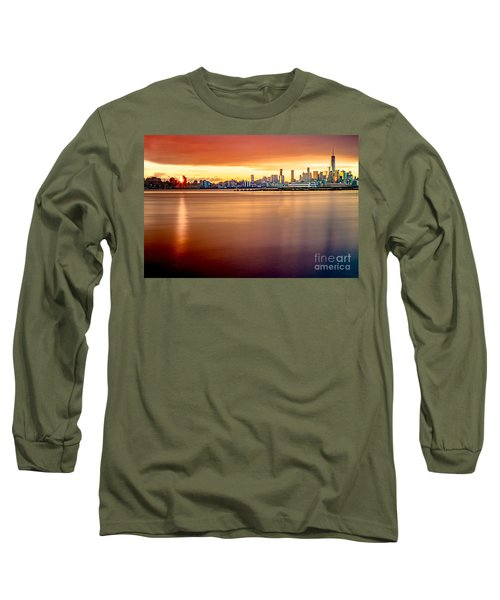 Sunrise On The Weehawken Waterfront Long Sleeve T-Shirt