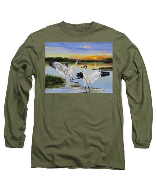 Sunrise Whooping Cranes Long Sleeve T-Shirt by Phyllis Beiser