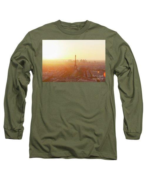 Sunset Above Paris Long Sleeve T-Shirt by Anastasy Yarmolovich