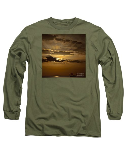 Long Sleeve T-Shirt featuring the photograph Sunset And Sanpan by Shirley Mangini