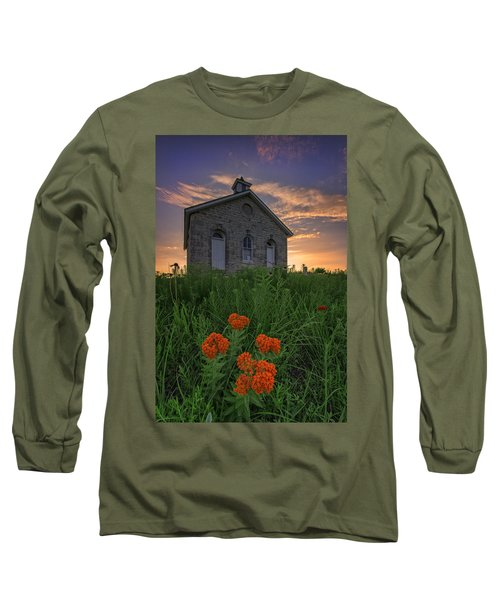 Sunset At Lower Fox Creek Schoolhouse Long Sleeve T-Shirt