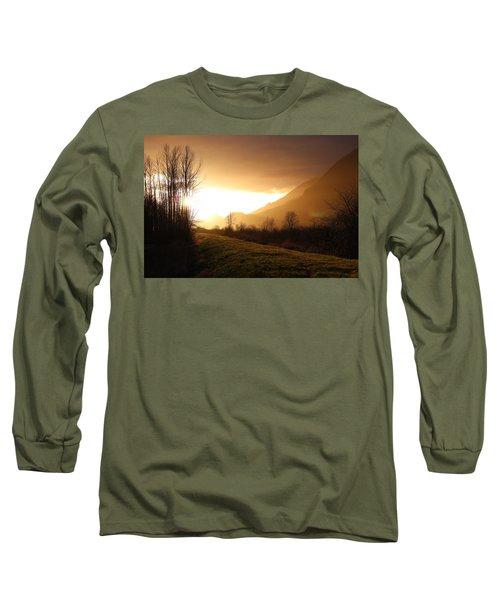 Sunset At Pitt Lake Dyke Long Sleeve T-Shirt