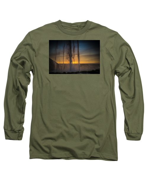 Long Sleeve T-Shirt featuring the photograph Sunset Behind The Waterfall by Chris McKenna