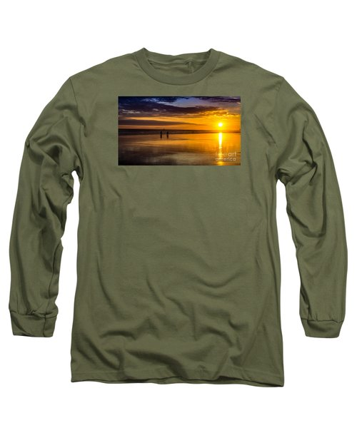 Sunset Bike Ride Long Sleeve T-Shirt by David Smith