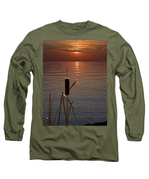 Sunset Cattail Long Sleeve T-Shirt by Judy Johnson
