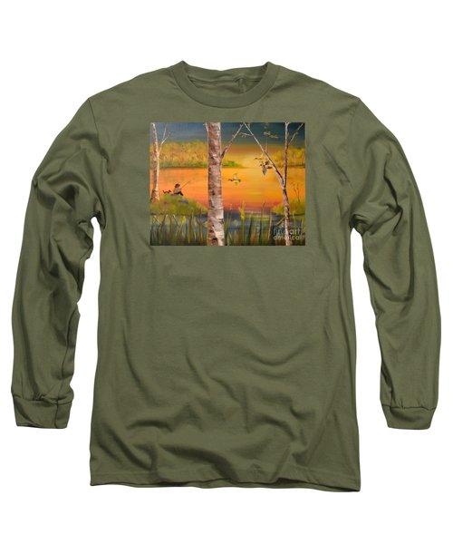 Sunset Fishing Long Sleeve T-Shirt by Denise Tomasura