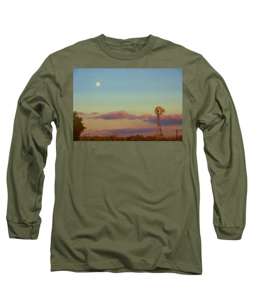 Sunset Moonrise With Windmill  Long Sleeve T-Shirt