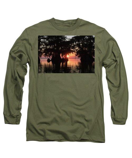 Sunset On A Louisiana Cypress Swamp Long Sleeve T-Shirt