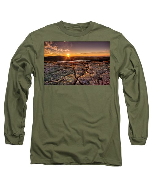 Sunset On Cadillac Mountain Long Sleeve T-Shirt