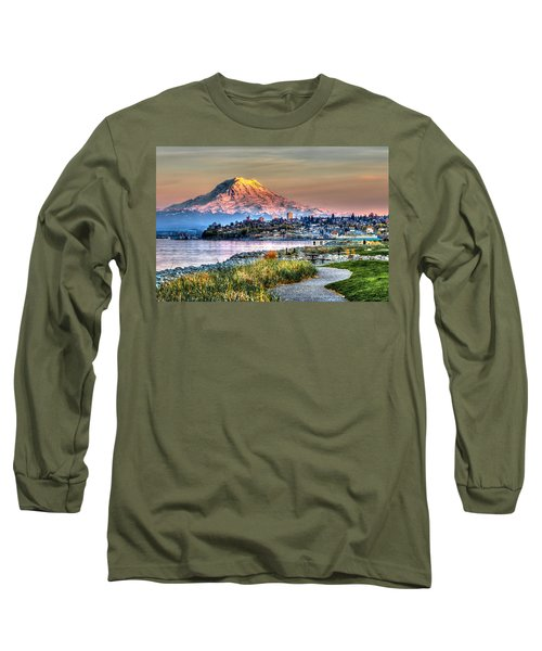 Sunset On Mt Rainier And Point Ruston Long Sleeve T-Shirt by Rob Green