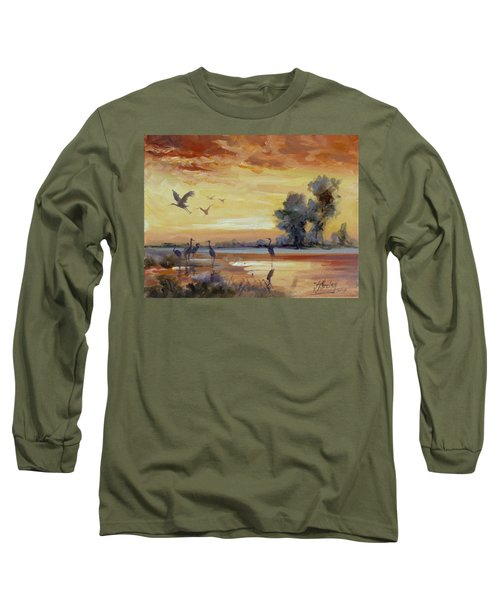 Sunset On The Marshes With Cranes Long Sleeve T-Shirt by Irek Szelag