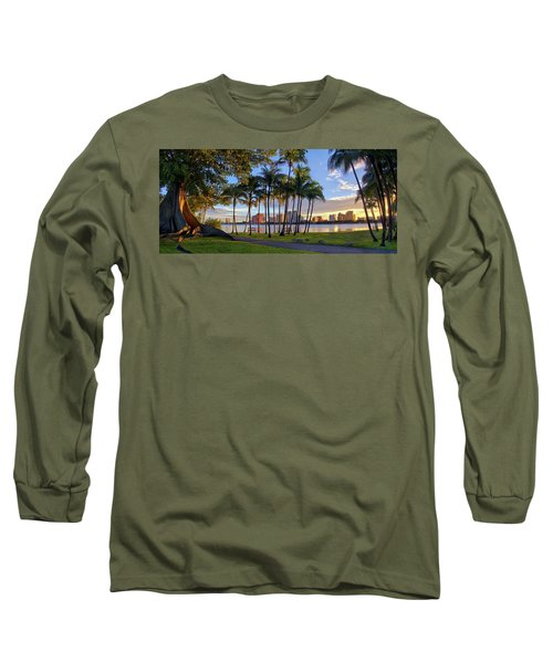 Sunset Over Downtown West Palm Beach From Palm Beach Island Long Sleeve T-Shirt by Justin Kelefas
