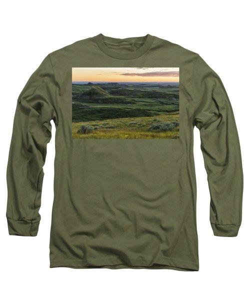 Sunset Over Killdeer Badlands Long Sleeve T-Shirt by Robert Postma
