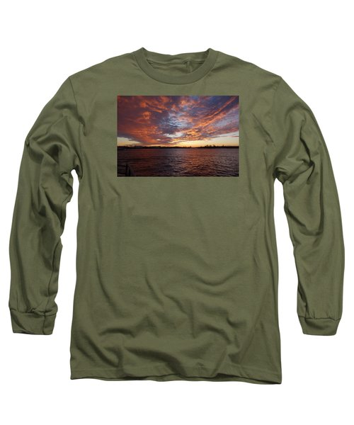 Sunset Over Manasquan Inlet Long Sleeve T-Shirt by Melinda Saminski