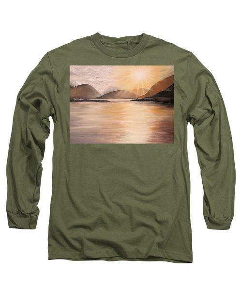 Long Sleeve T-Shirt featuring the painting Sunset Over Scottish Loch by Elizabeth Lock
