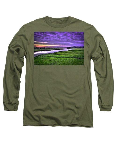 Sunset Over Turners Creek Savannah Tybee Island Ga Long Sleeve T-Shirt