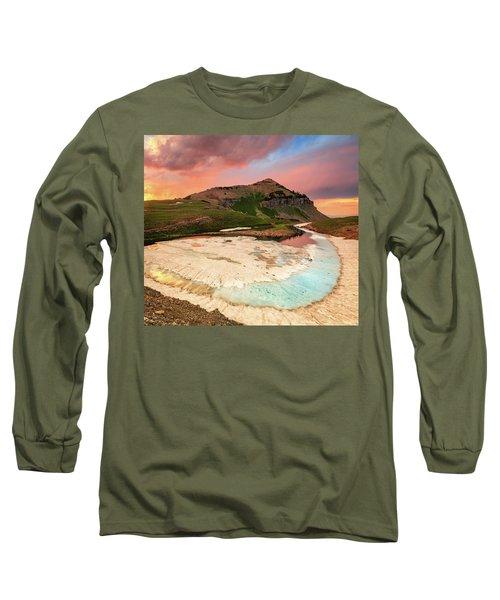 Sunset Reflection At Emerald Lake. Long Sleeve T-Shirt