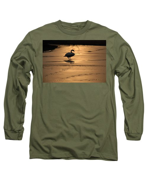 Long Sleeve T-Shirt featuring the photograph Sunset Swan by Richard Bryce and Family