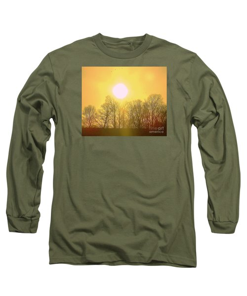 Long Sleeve T-Shirt featuring the photograph Sunset Yellow Orange by Shirley Moravec