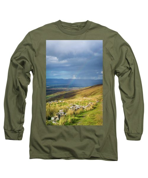 Sunshine And Raining Down With Rainbow On The Countryside In Ire Long Sleeve T-Shirt by Semmick Photo