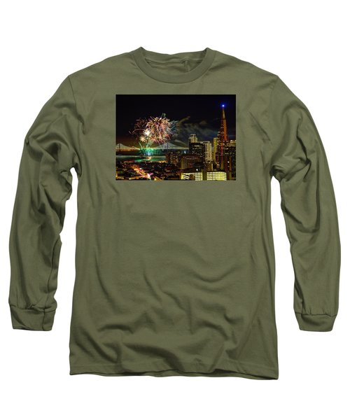 Superbowl 50 Fireworks From Atop Russian Hill Long Sleeve T-Shirt