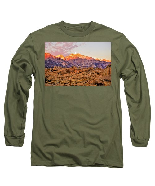 Supermoon Setting At Sunrise Over Mount Williamson In The Sierra Nevada Mountains Long Sleeve T-Shirt