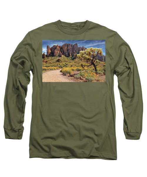 Superstition Mountain Cholla Long Sleeve T-Shirt by James Eddy