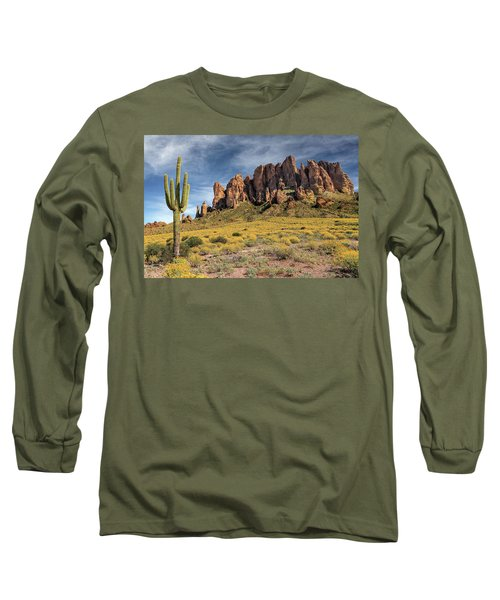 Long Sleeve T-Shirt featuring the photograph Superstition Mountains Saguaro by James Eddy