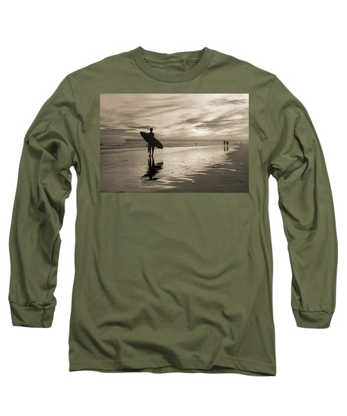 Surfing The Shadows Of Light Sepia Long Sleeve T-Shirt