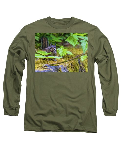 Long Sleeve T-Shirt featuring the photograph Surprised Chipmunk by Jonny D