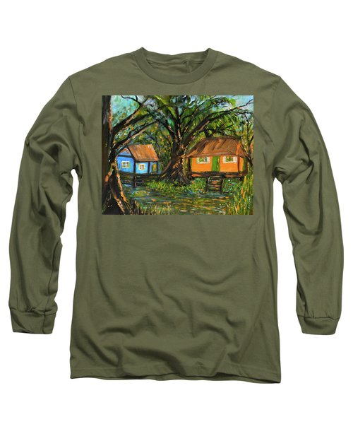 Swamp Cabins Long Sleeve T-Shirt by Christy Usilton