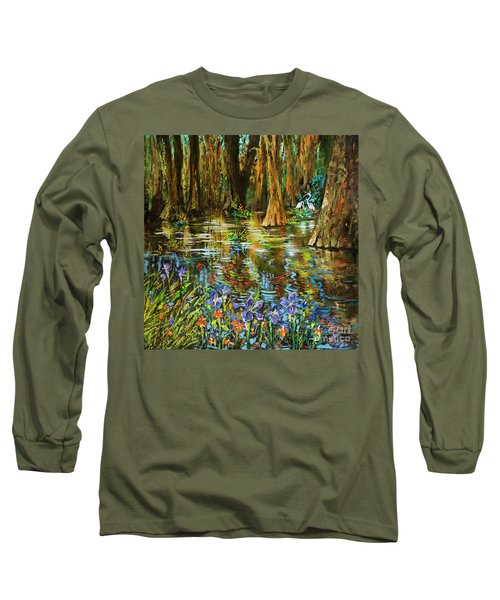 Swamp Iris Long Sleeve T-Shirt by Dianne Parks