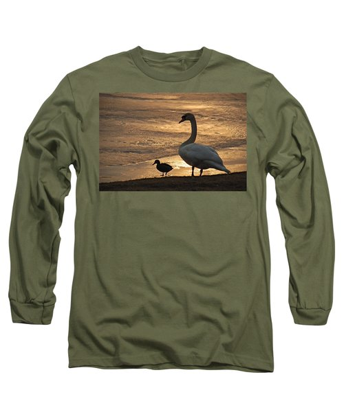 Long Sleeve T-Shirt featuring the photograph Swan And Baby At Sunset by Richard Bryce and Family