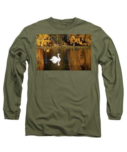 Swan On A Lake Long Sleeve T-Shirt by Teemu Tretjakov