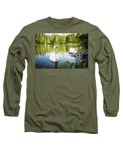 Swans With Chicks Long Sleeve T-Shirt by Teemu Tretjakov