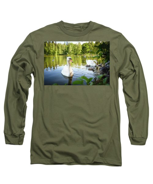 Swans With Chicks Long Sleeve T-Shirt