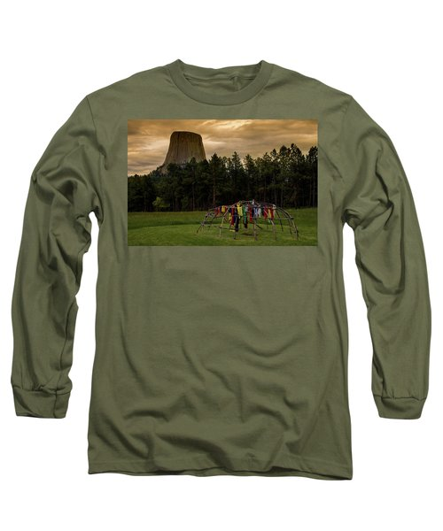 Long Sleeve T-Shirt featuring the photograph Sweat Lodge At Devil's Tower by Gary Lengyel